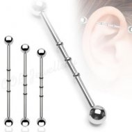 Triple Notched Industrial Barbell W/ Ball 316L Steel In Mix Size