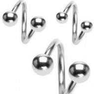 316L Surgical Steel Twist Barbell Mix Size Ring W/ Balls