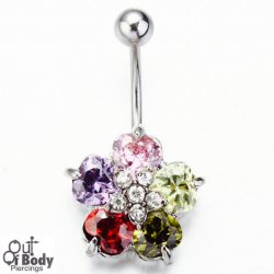 Flower Belly Ring W/ Teardrop CZ Gems