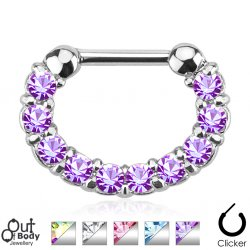 Septum Clicker Paved Row Of CZ Huggie Style Nose Ring
