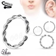 Cartilage Ear/ Septum Braided Ring W/ Rounded Ends Bendable 316L