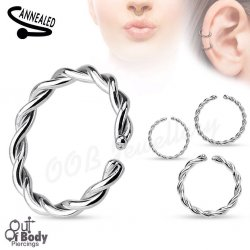 Cartilage Ear/ Septum Braided Ring Bendale W/ Rounded Ends