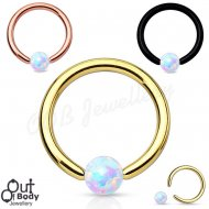316L Steel Faux Fire Opal Ball Captive Bead Ring W/ Titanium IP