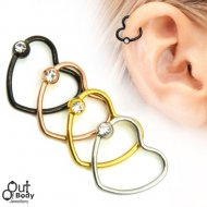 316L Steel Heart Helix/ Cartilage Captive Bead Ring W/ Gem Ball