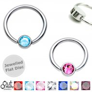 316L Steel Captive Bead/ Daith Ring W/ Jewelled Flat Disc