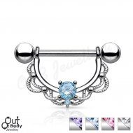 316L Steel CZ Centered Filigree Drop Nipple Ring
