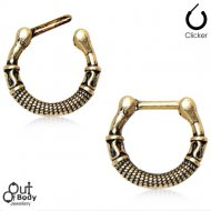 Septum Clicker Hinged Antique Gold Greek Inspired Ring