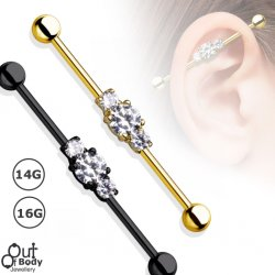 Three Clear CZ Black Or Gold IP Industrial Barbell