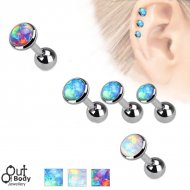 Cartilage/ Tragus Flat Disc Top Barbell W/ Faux Opal