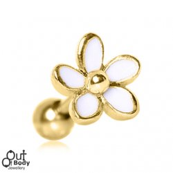 Cartilage/ Tragus Barbell Gold Plated Sweet White Daisy Earring
