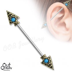 Industrial Barbell W/ Turquoise Inlay Tribal Spear Ends
