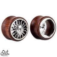 Organic Wood Tunnel Matched Pairs W/ Sun And Moon Inlay