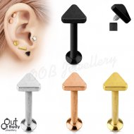 Ear Labret Stud W/ Internal Threaded Triangle Top
