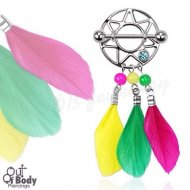 316L Steel Dream Catcher Gem Nipple Shield W/ Coloutful Feathers