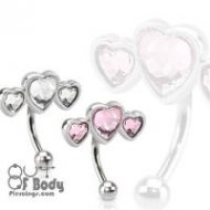 16GA Curved Eyebrow Barbell W/ CZ Paved Triple Heart Top