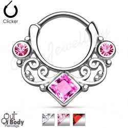 Septum Clicker Round Hinged Lace Swirl Gem W/ Square Center Gem