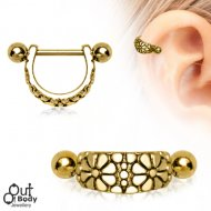 Cartilage/ Helix Gold Plated Daisy Ear Cuff Shield Earring