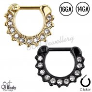 Septum Clicker Hinged Paved CZ W/ Gold Or Black Ion Plating