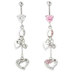 Prong Set Heart Belly Ring W/ Small Dangling Hearts