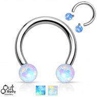 316L Steel Faux Opal Ball Threaded Horseshoe/ Circular Barbell