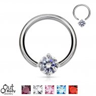 316L Steel Captive Bead Ring W/ Solitaire Round CZ Gem