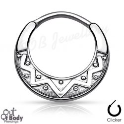 Septum Clicker Round Hinged Tribal Design Nose Ring