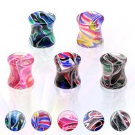 Acrylic Multi Coloured Marble Swirl Saddle Plug