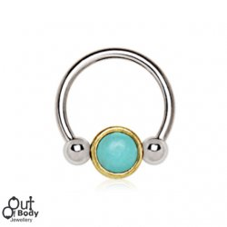 Septum Cartilage/ Ear Horseshoe W/ Turquoise Snap In Bead