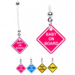 Bioflex Pregnancy Belly Ring W/ Baby Road Sign Charms