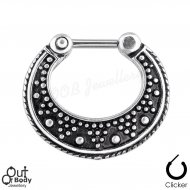 Septum Clicker Hinged Two Tone Dot Pattern Nose Ring