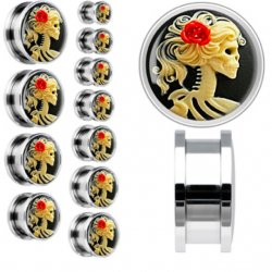 316L Steel Cameo Rose Skelton Threaded Tunnel