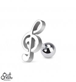 Cartilage/ Tragus Barbell W/ Music Treble Clef Top