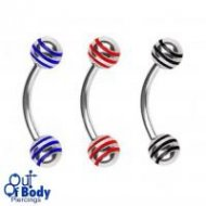 16GA Curved Eyebrow Barbell W/ Striped Ball In 316L Steel