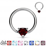 316L Steel Captive Bead Ring W/ Solitaire Heart CZ Gem