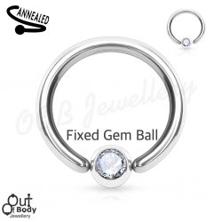 Hoop Captive Bead Nose Ring W/ CZ Gem Ball Fixed One Side