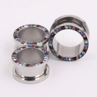 316L Steel Mixed Colour Crystal Rim Threaded Tunnel