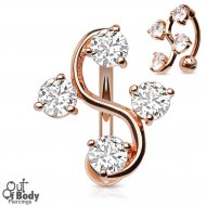 4 Prong CZ Vine Top Down Rose Gold Plated Belly Ring