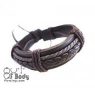 Brown Leather Wristband With Plaiting