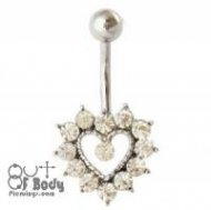 Clear Prong Set CZ Heart Belly Ring