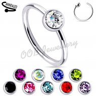 Hoop Nose Ring W/ Colourful Gem Set Ball In 316L Steel
