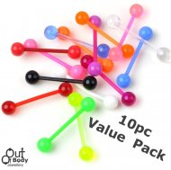 Acrylic Straight Barbell 10pc Value Pack / Mixed Colours