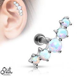 Cartilage/ Helix White 5 Opal Ball Curved Top Barbell