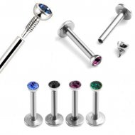 16GA Labret W/ Internally Threaded Gem Top