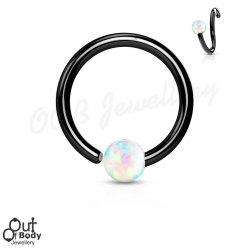 Hoop Nose Ring W/ Opal Ball Fixed On End In Black IP