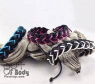 Blue White & Pink Leather Wristbands