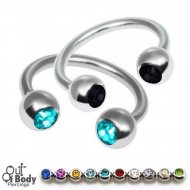 316L Steel Horseshoe Circular Barbell W/ CZ Press Fit Gem Ball
