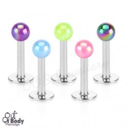 Ear Labret Stud With Metallic Shimmer Coated Acrylic Ball