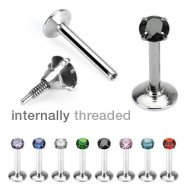 1.2mm/16G Prong Set Round CZ Internally Threaded Labret