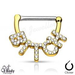 "316L Steel Nipple Clicker W/ Crystal Paved ""Bitch"" IP Gold"