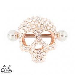 Crystal Pave Rose Gold Skull Nipple Ring Cup